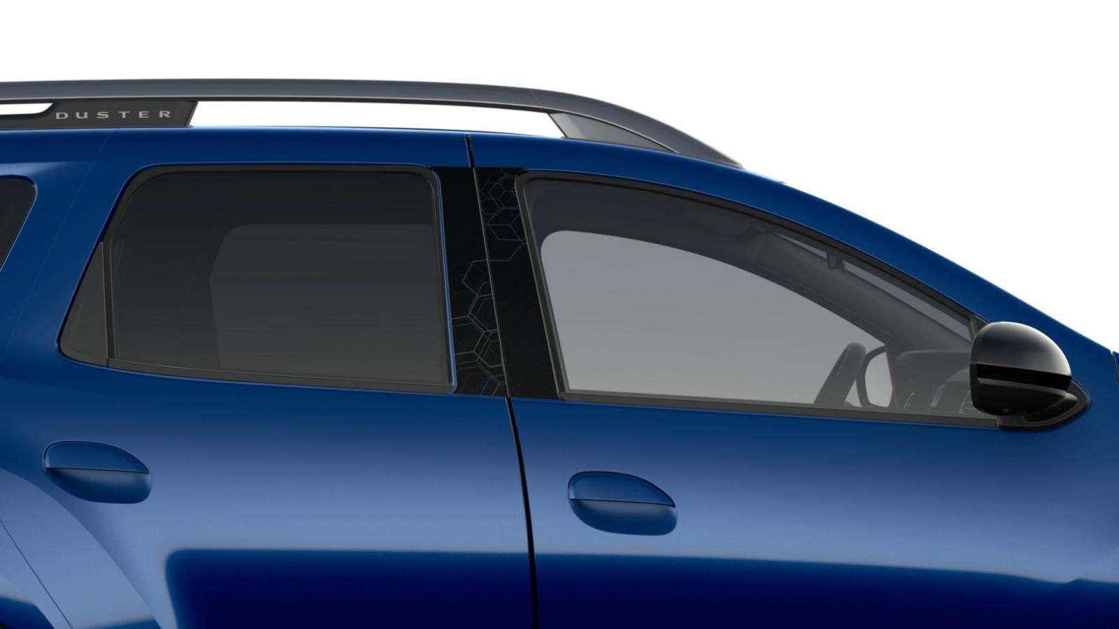 Синій графічний принт на віконних стійках